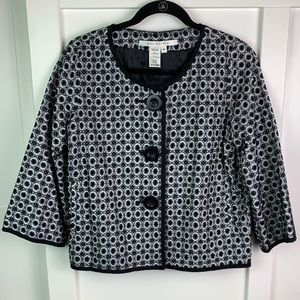 Max Studio black and white textured lined jacket M